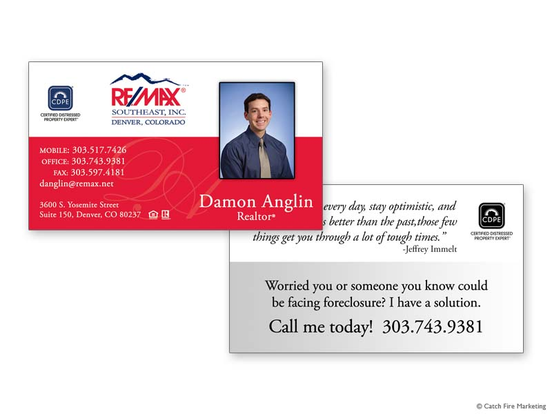 Real estate business cards catch fire marketing remax southeast business card 1 damon anglin colourmoves Images