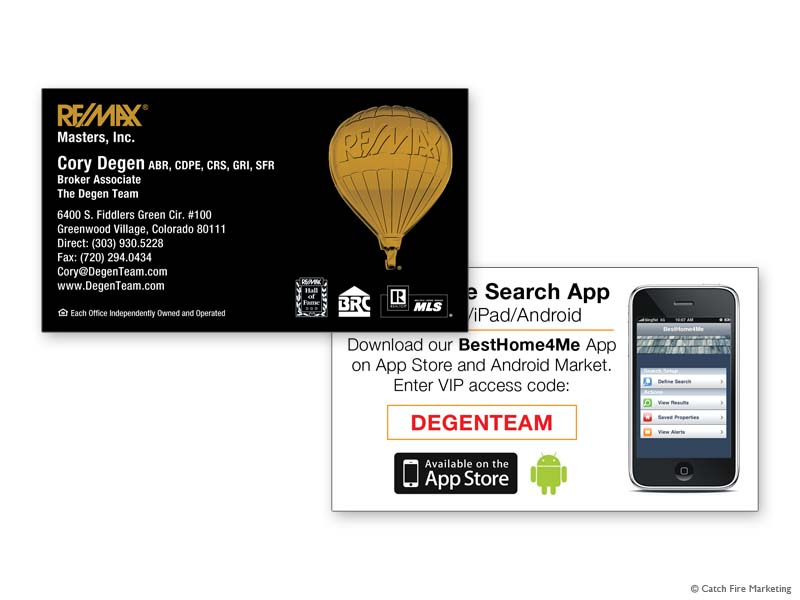 Real Estate Business Cards - Catch Fire Marketing