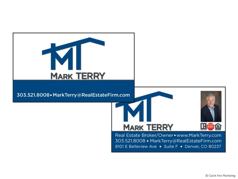 Real estate business cards catch fire marketing metro brokers real estate business card 3 mark terry colourmoves Images